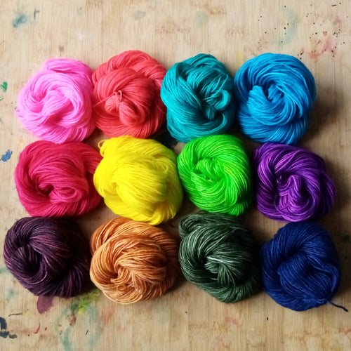 Ultimate Paint box - Paint Pallet mini skeins - Poppy Super Sock - BFL/Nylon 4ply