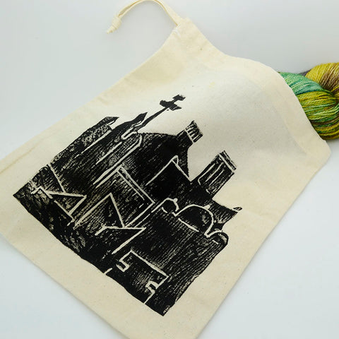 Liverpool skyline - Lino printed project bag
