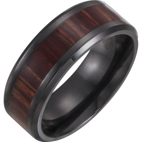 Black Titanium Beveled Edge Comfort-Fit Band with Ash Wood Inlay
