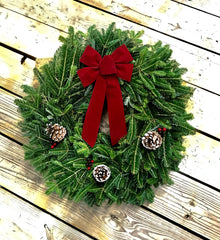24 in. Fresh Christmas Wreath with Red Bow