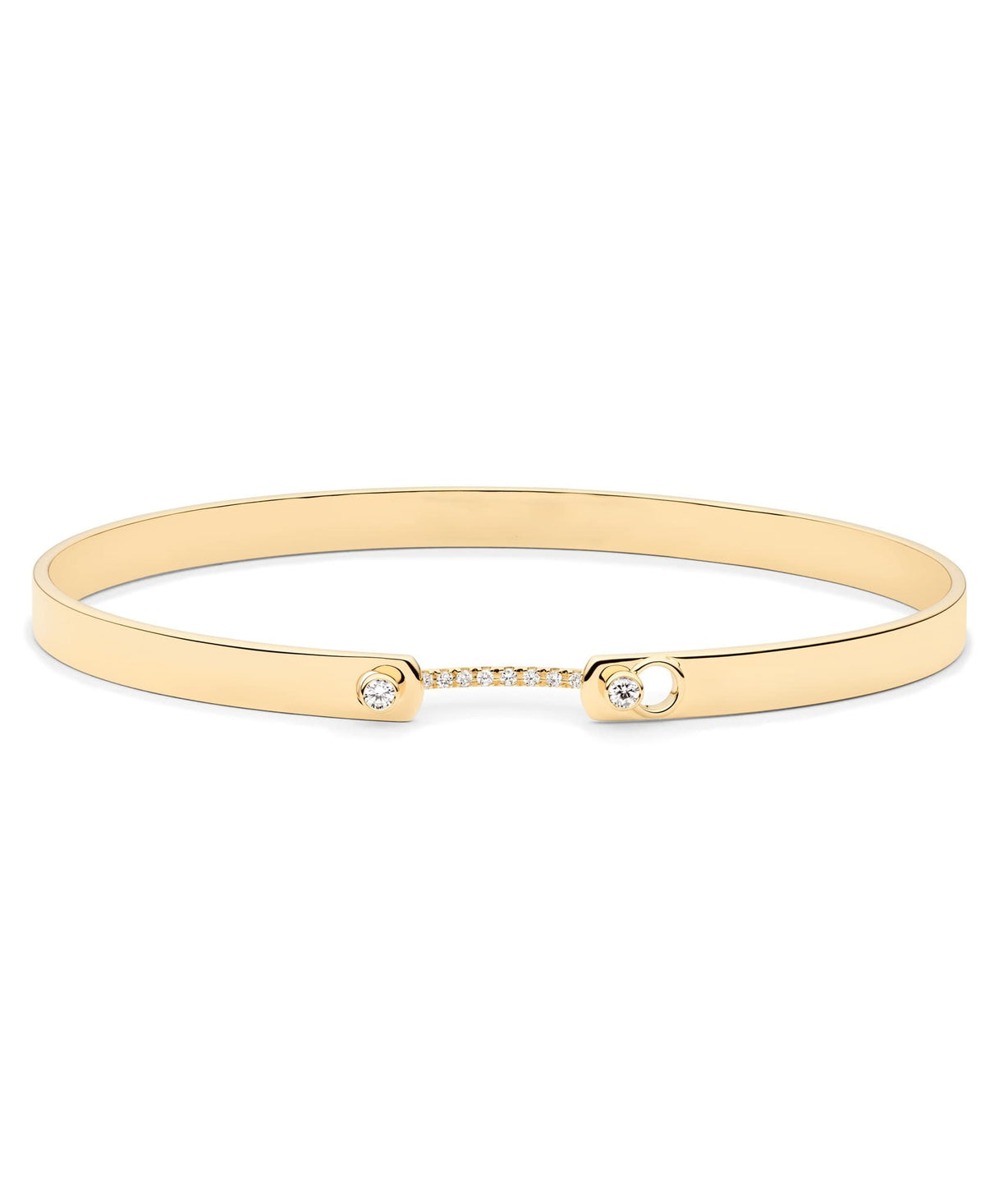 Business Meeting Mood Bangle | 18k Gold Oval Bangle Flat View