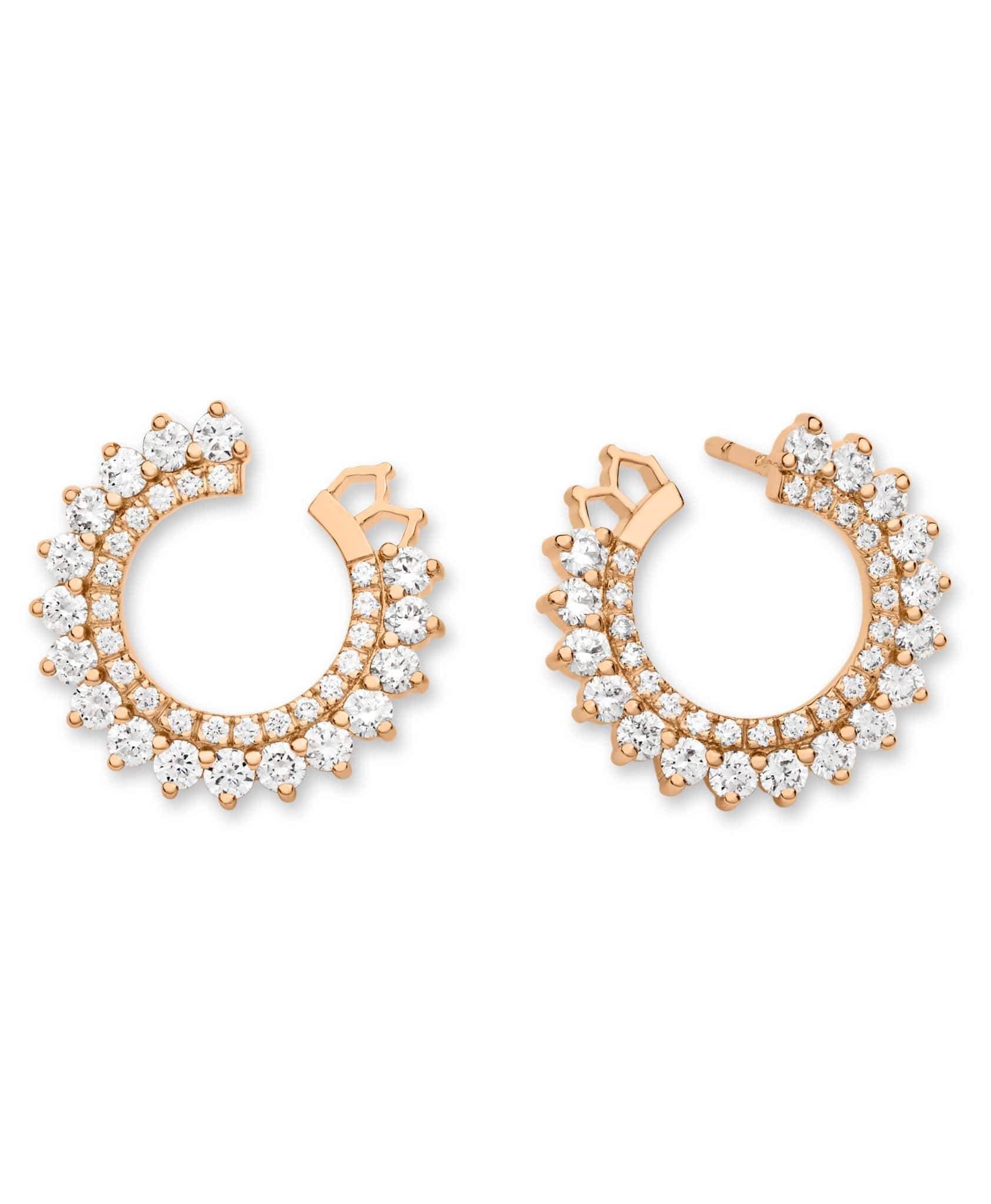 Double Diamond Earrings: Discover Luxury Fine Jewelry | Nouvel Heritage || Rose Gold