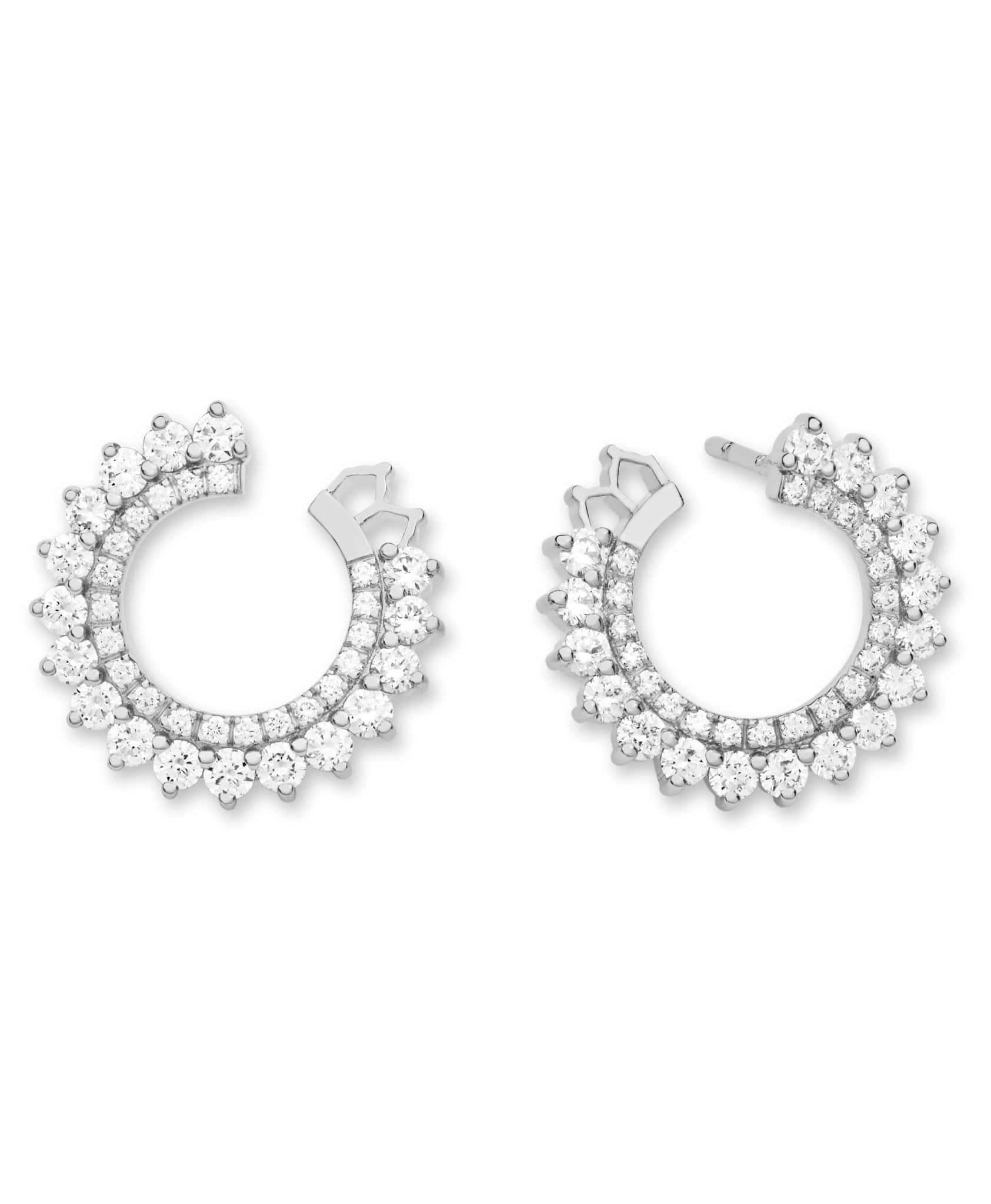 Double Diamond Earrings: Discover Luxury Fine Jewelry | Nouvel Heritage || White Gold