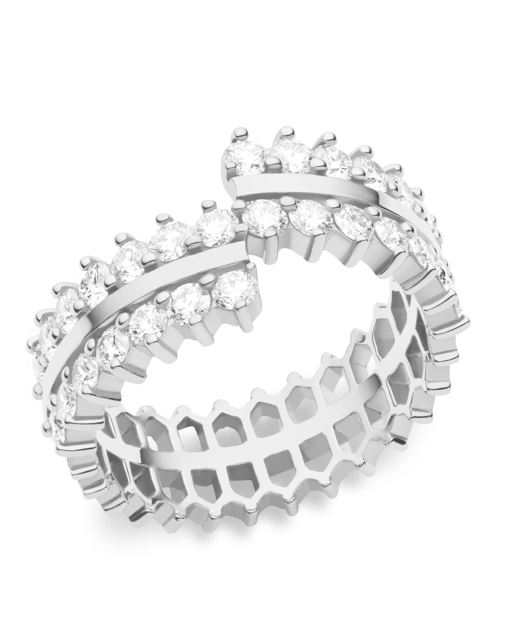 Double Full Diamond Ring: Discover Luxury Fine Jewelry | Nouvel Heritage || White Gold