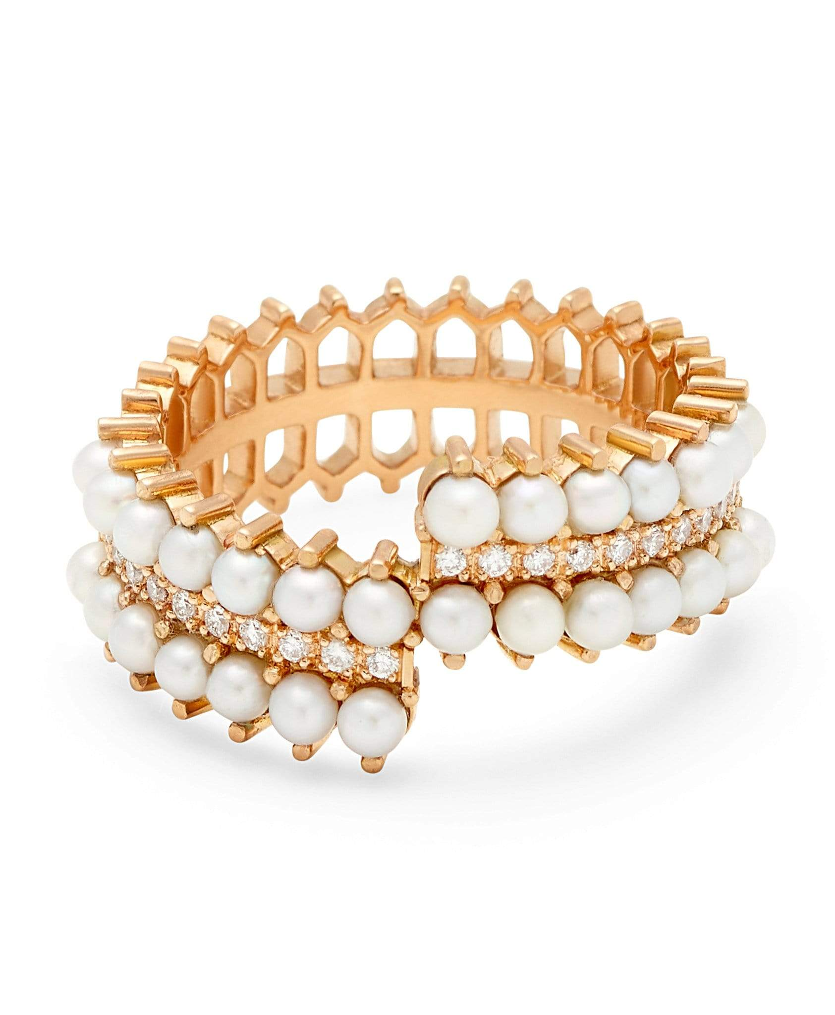 Double Pearl Diamond Ring: Discover Luxury Fine Jewelry | Nouvel Heritage