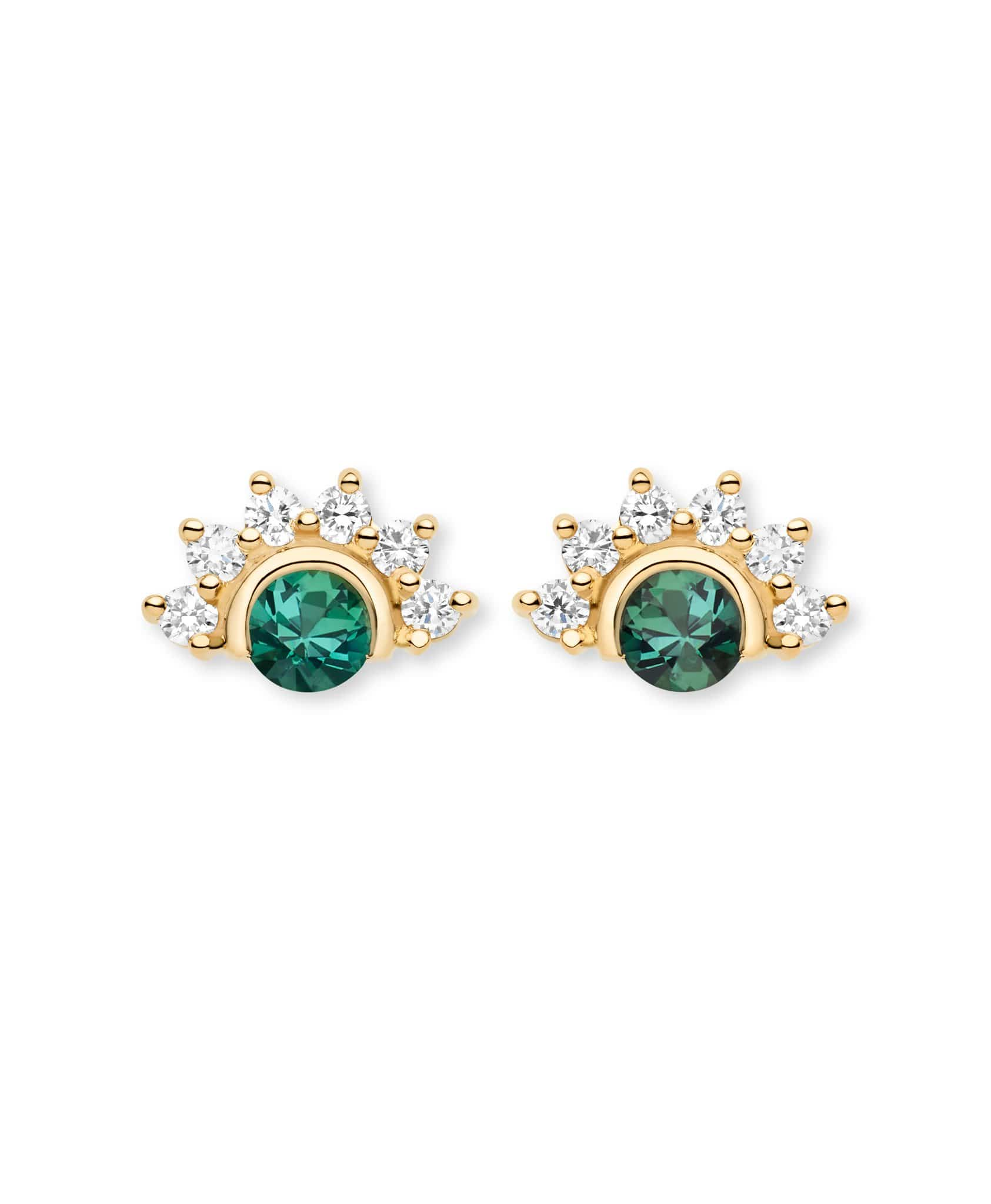 Green Tourmaline Studs: Discover Luxury Fine Jewelry | Nouvel Heritage || Yellow Gold