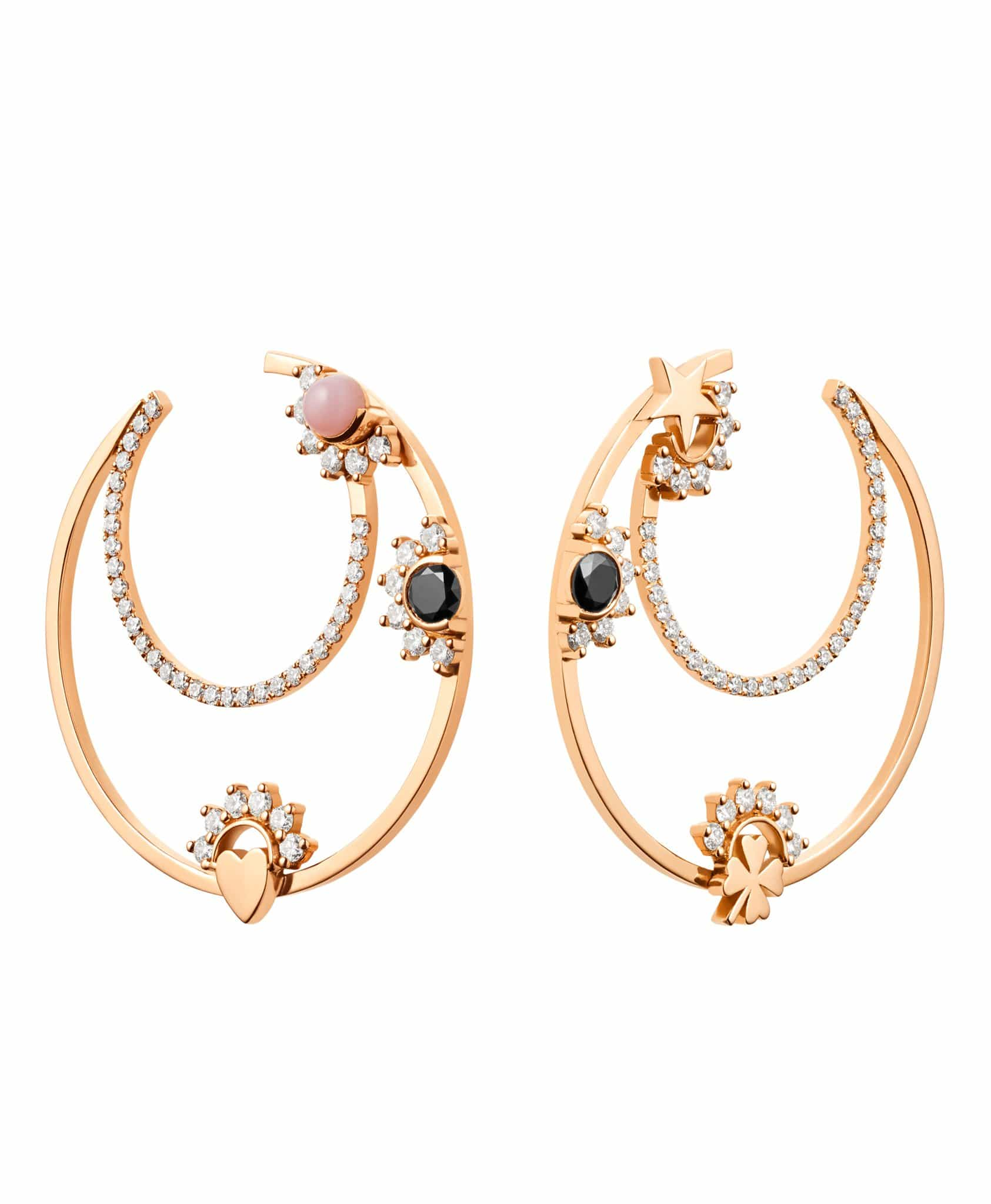 Opal Motifs Hoops: Discover Luxury Fine Jewelry | Nouvel Heritage || Rose Gold