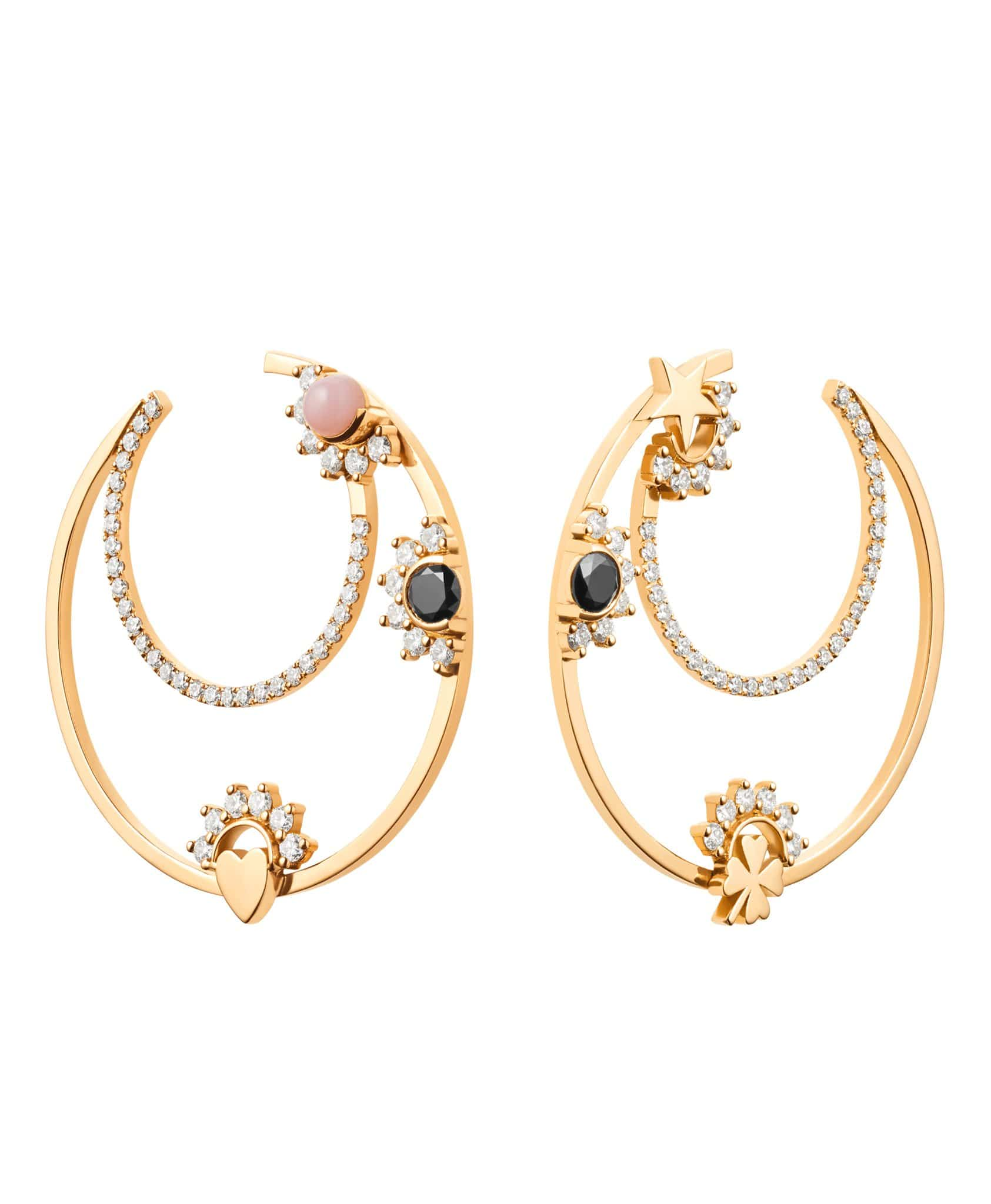 Opal Motifs Hoops: Discover Luxury Fine Jewelry | Nouvel Heritage || Yellow Gold