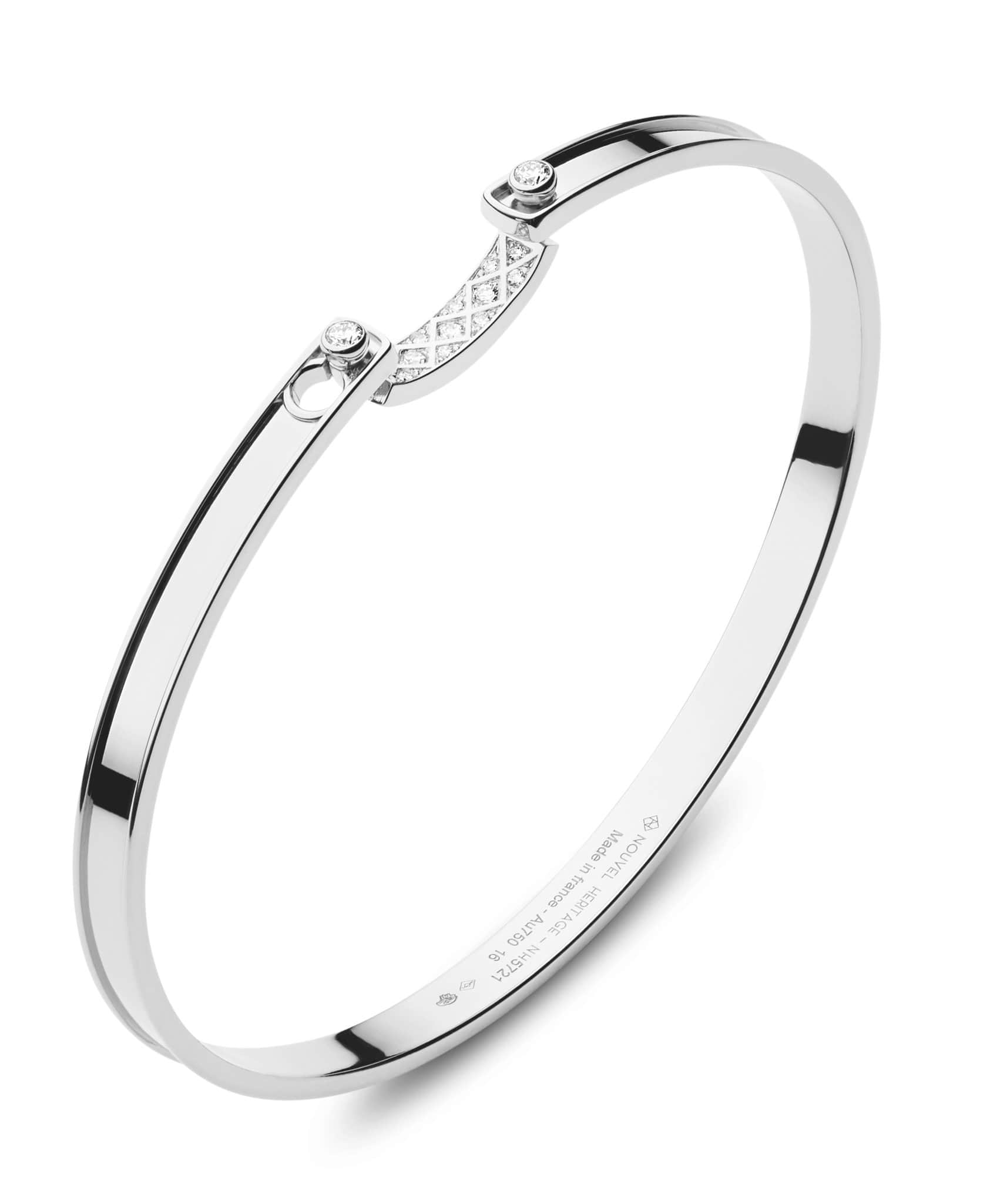 Parisian Stroll Mood Bangle: Discover Luxury Fine Jewelry | Nouvel Heritage || White Gold