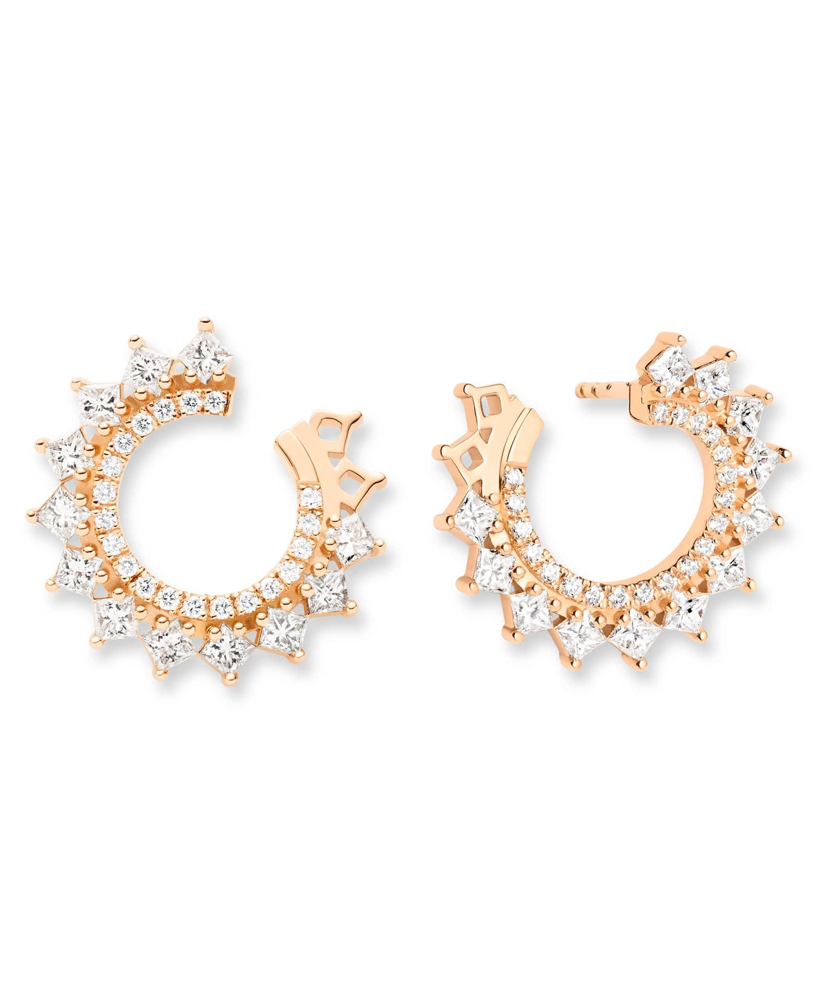 Princess Diamond Earrings: Discover Luxury Fine Jewelry | Nouvel Heritage || Rose Gold