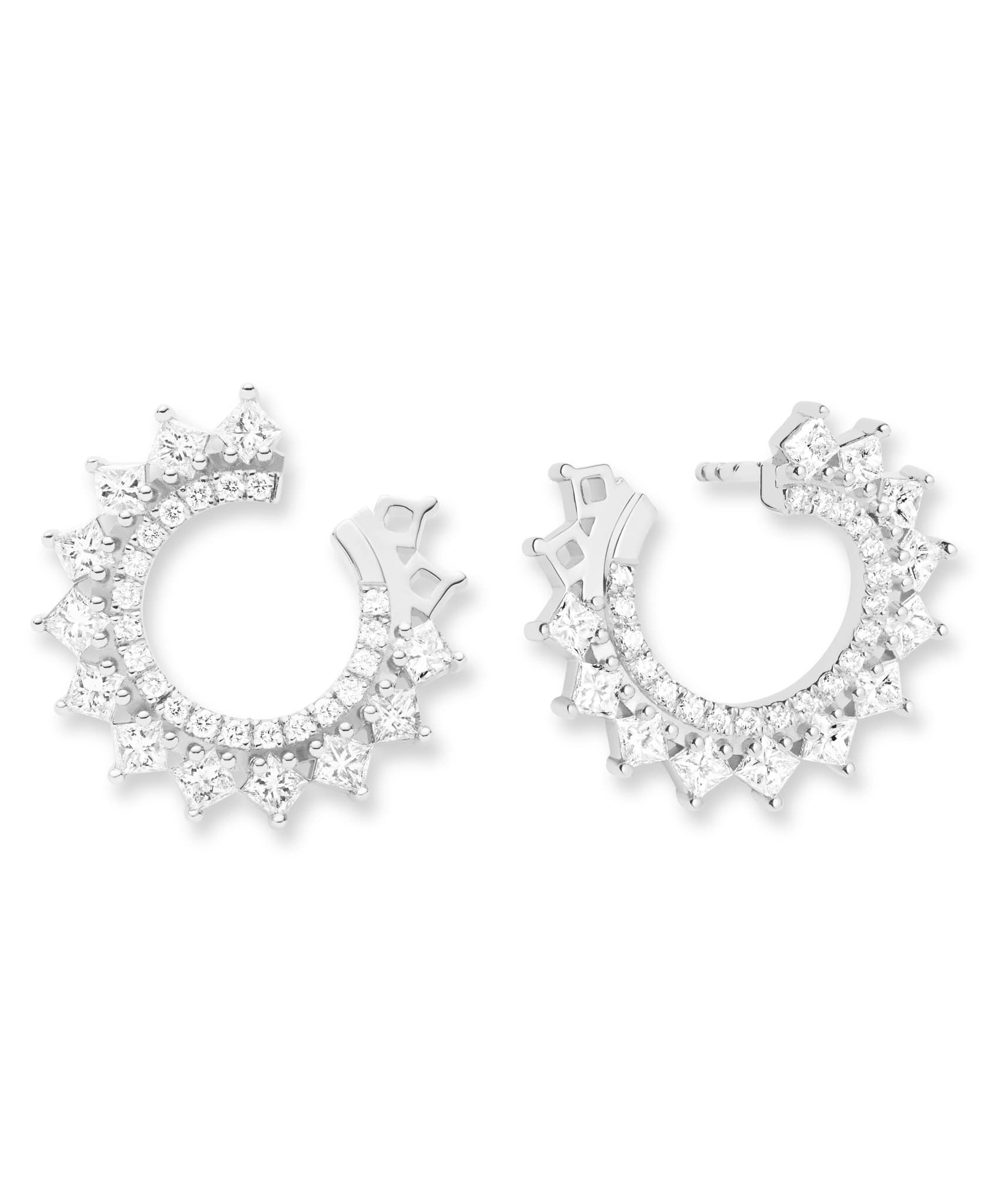 Princess Diamond Earrings: Discover Luxury Fine Jewelry | Nouvel Heritage || White Gold