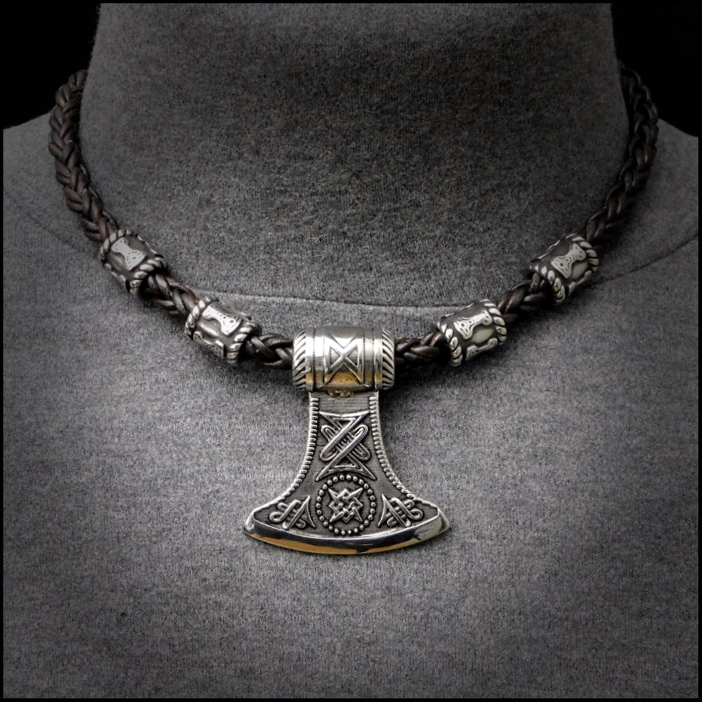 Large Battle Axe Pendant on Viking Braid Leather Necklace With Mjolnir Design Beads