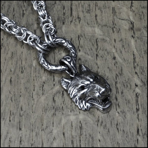 Discreet Chainmaille Day Collar with Nordic Wolf Head Pendant