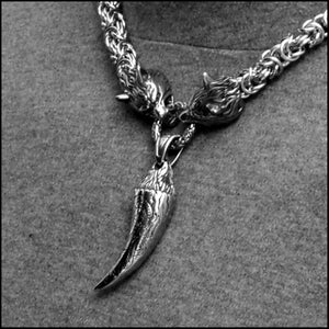 Viking Royalty Thick 9mm Chainmaille Necklace w/ Snarling Wolf Head Ends and Huge Viking Wolf Fang