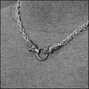 Wolf Warrior Necklace Featuring Chainmaille Necklace with Two Embossed Spring Ring Connectors
