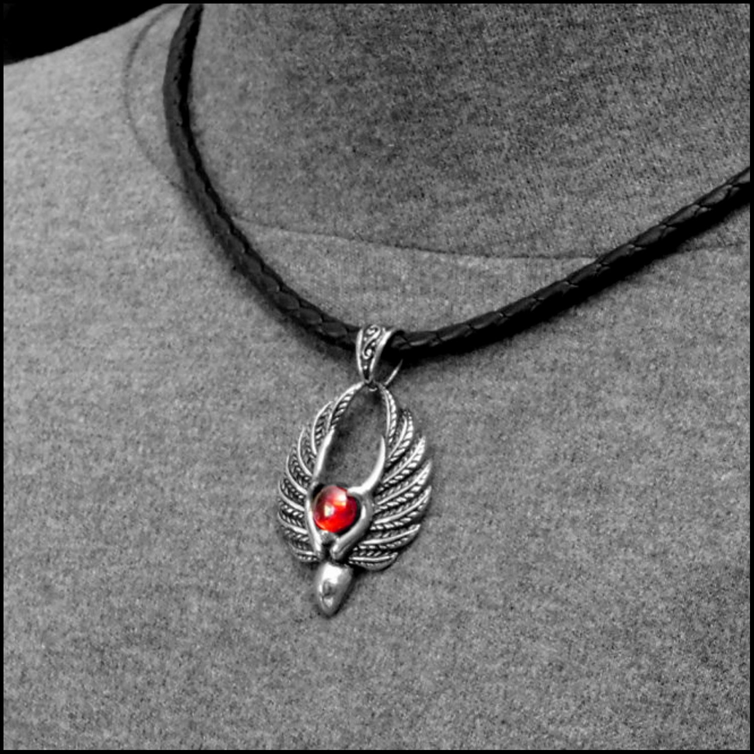 Blood Angel Pendant on Luxurious Nappa Leather Cord Necklace