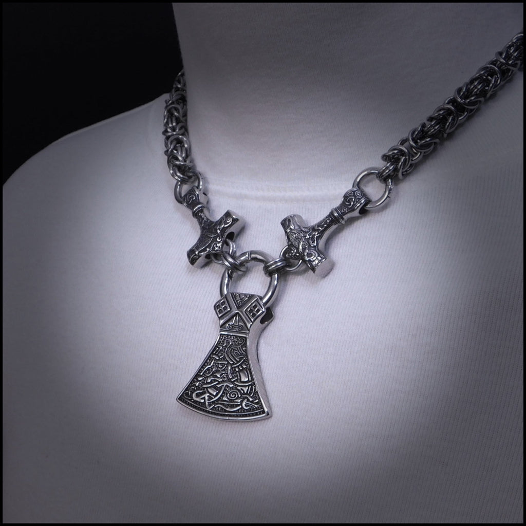 Viking Warrior Pectoral Necklace with Large Mammen Axe Pendant with 2 Viking Mjolnirs on Thick 9mm C
