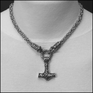 Wolf Warrior Necklace Featuring Chainmaille Necklace with Beautifully Sculptured Mjolnir