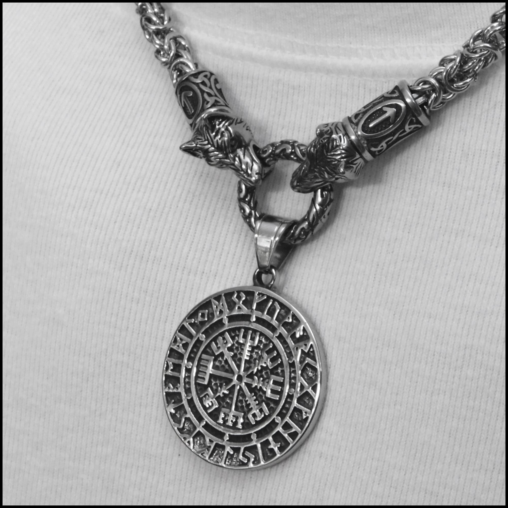 Wolf Warrior Necklace Featuring Chainmaille Necklace with Viking Magical Mystical Compass Pendant