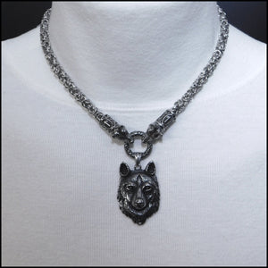 Wolf Warrior Necklace Featuring Chainmaille Necklace with Wolf Warrior Pendant