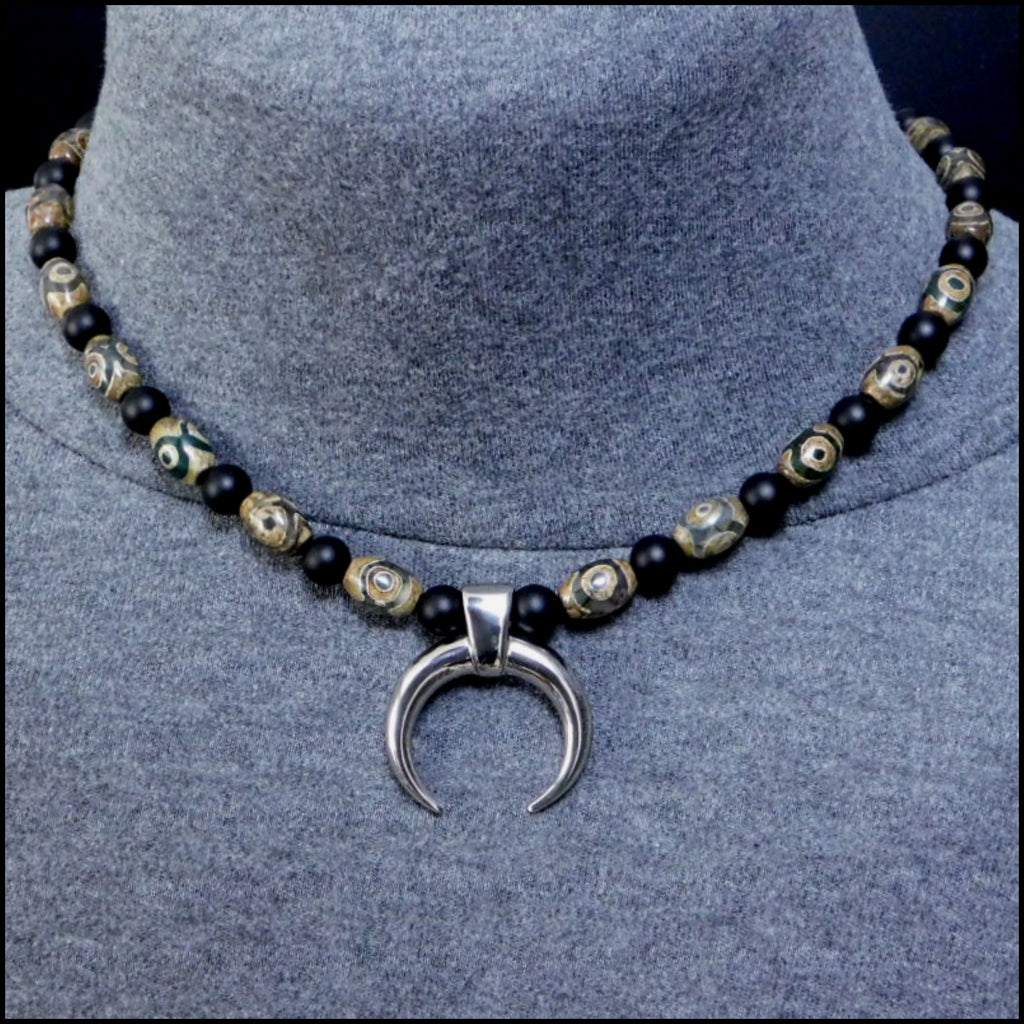 Techno Warrior Warlock Necklace with Genuine Triple Eye Agate and Matte Black Onyx Beads
