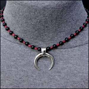 Warlock Warrior Blood Tears Necklace With Ruby Red Jade and Matte Black Onyx Beads