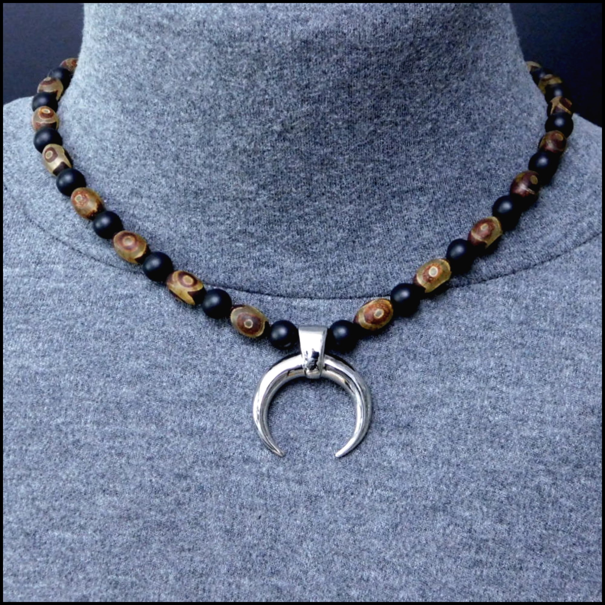 Warlock Warrior Necklace with Antique Brown Triple Eye Agate and Matte Black Onyx Beads