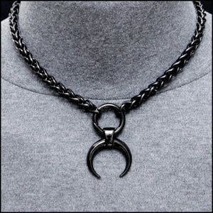 Techno Warrior Black Warlock Necklace with Thick Viking Braid Chain- All Black Stainless Steel