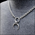 Warlock Warrior Necklace with Thick Viking Braid Chain- All Polished Stainless Steel - Gift Boxed