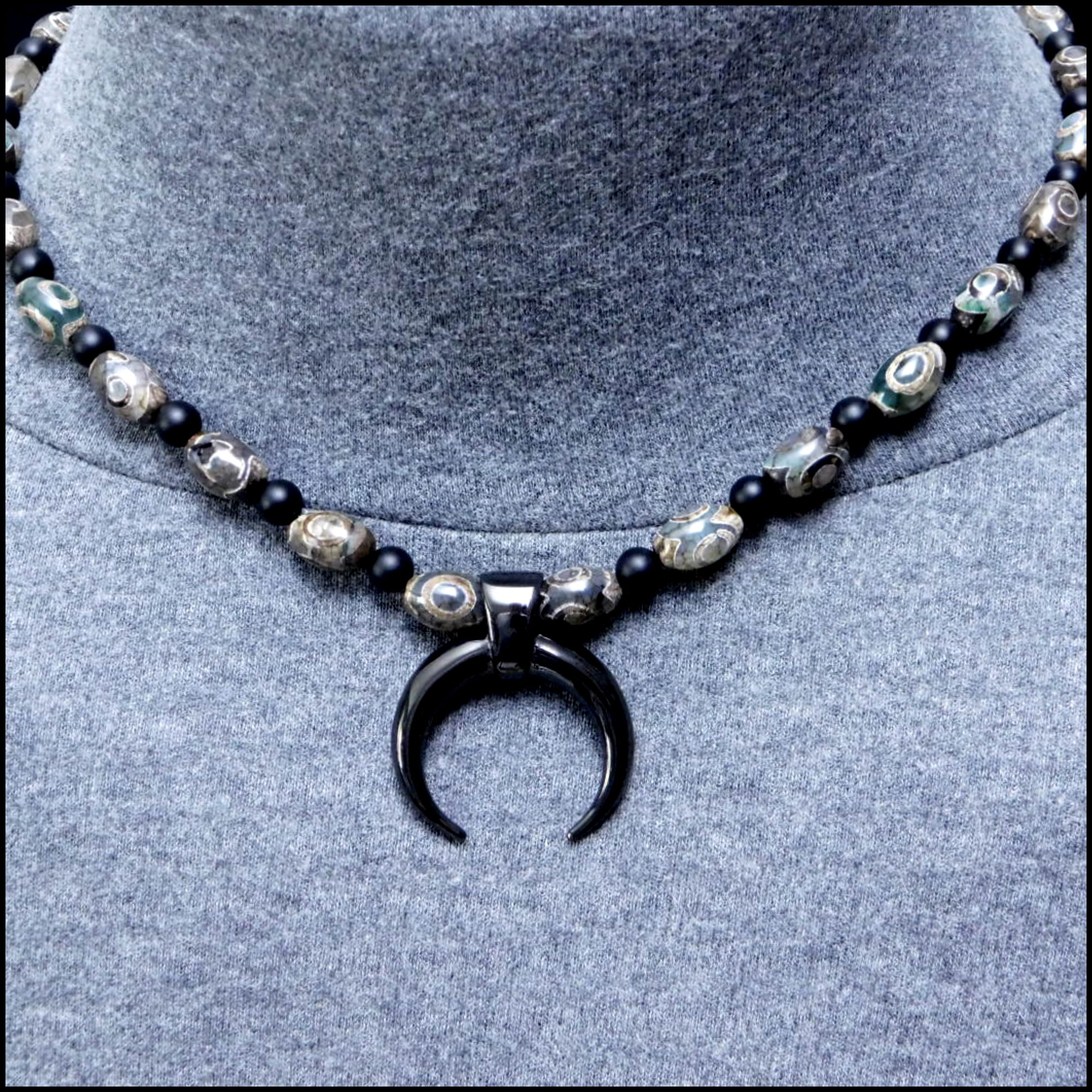 Black Warlock Warrior Necklace with Genuine Triple Eye Agate and Matte Black Onyx Beads
