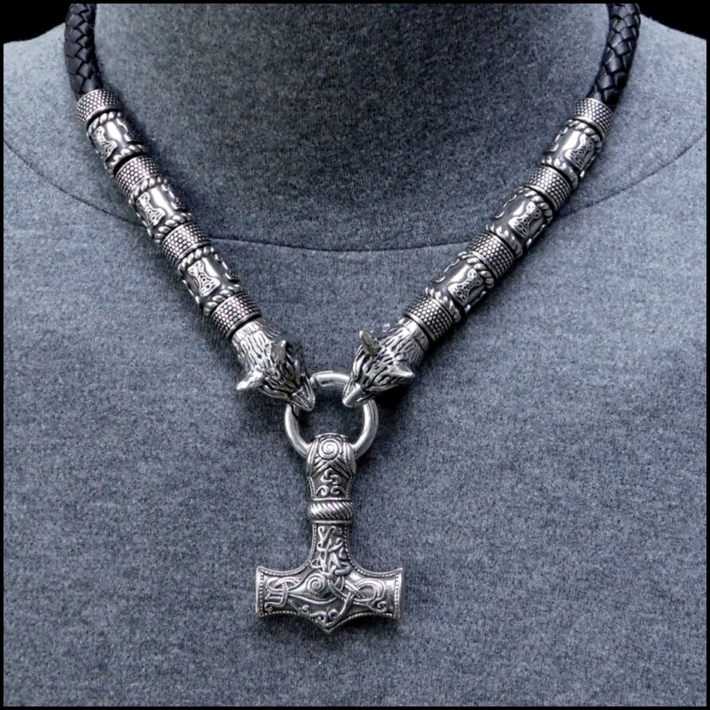 Wolf Warrior Leather and Sculptured Steel Bead Necklace with Large Sculptured Mjolnir