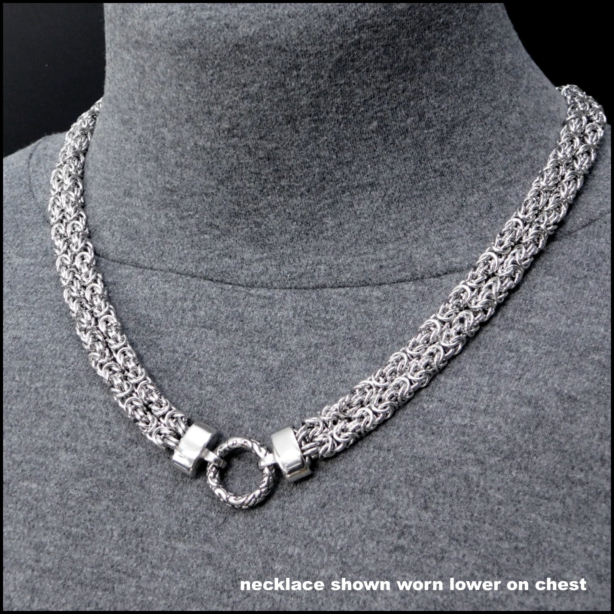 Stunning Multipurpose Double Strand Chainmaille Necklace with Embossed Connector Ring