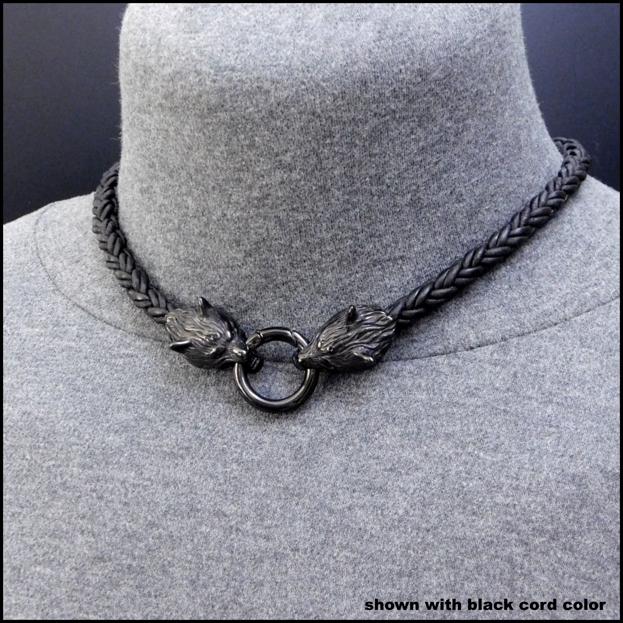 Black Guardian Wolves Necklace Collar Choker w/Tribal Braid Leather Cord Necklace w/Wolf Head Ends
