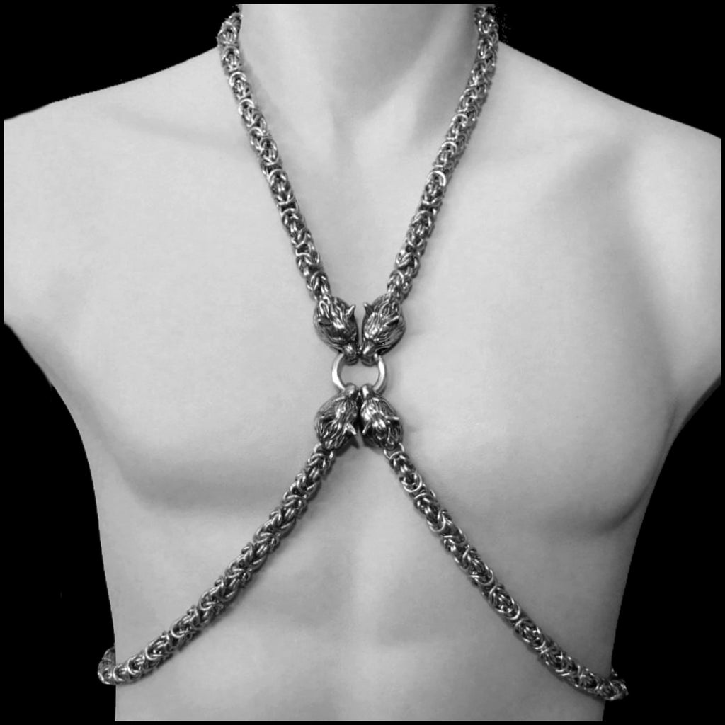 Guardian Wolves Chainmaille Body Chain w/Thick Chainmaille and Snarling Wolf Heads Center