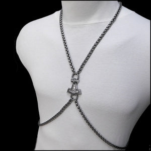 Bold Body Chain with Antique Viking Braid Chain and Sculptured Mjolnir Center Connector