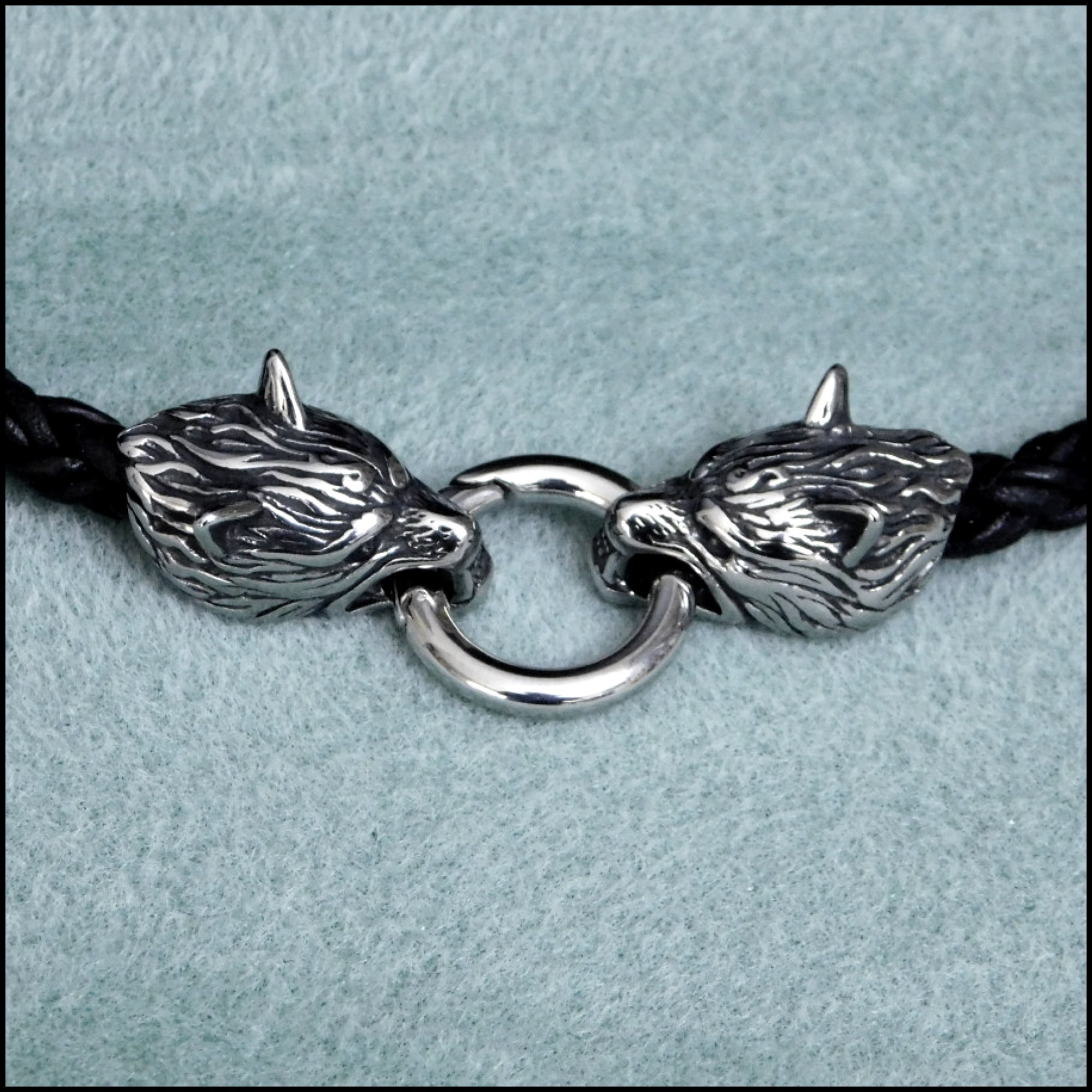 Snarling Guardian Wolves Tribal Braid Leather Cord Necklace with Spring Ring Front Connector