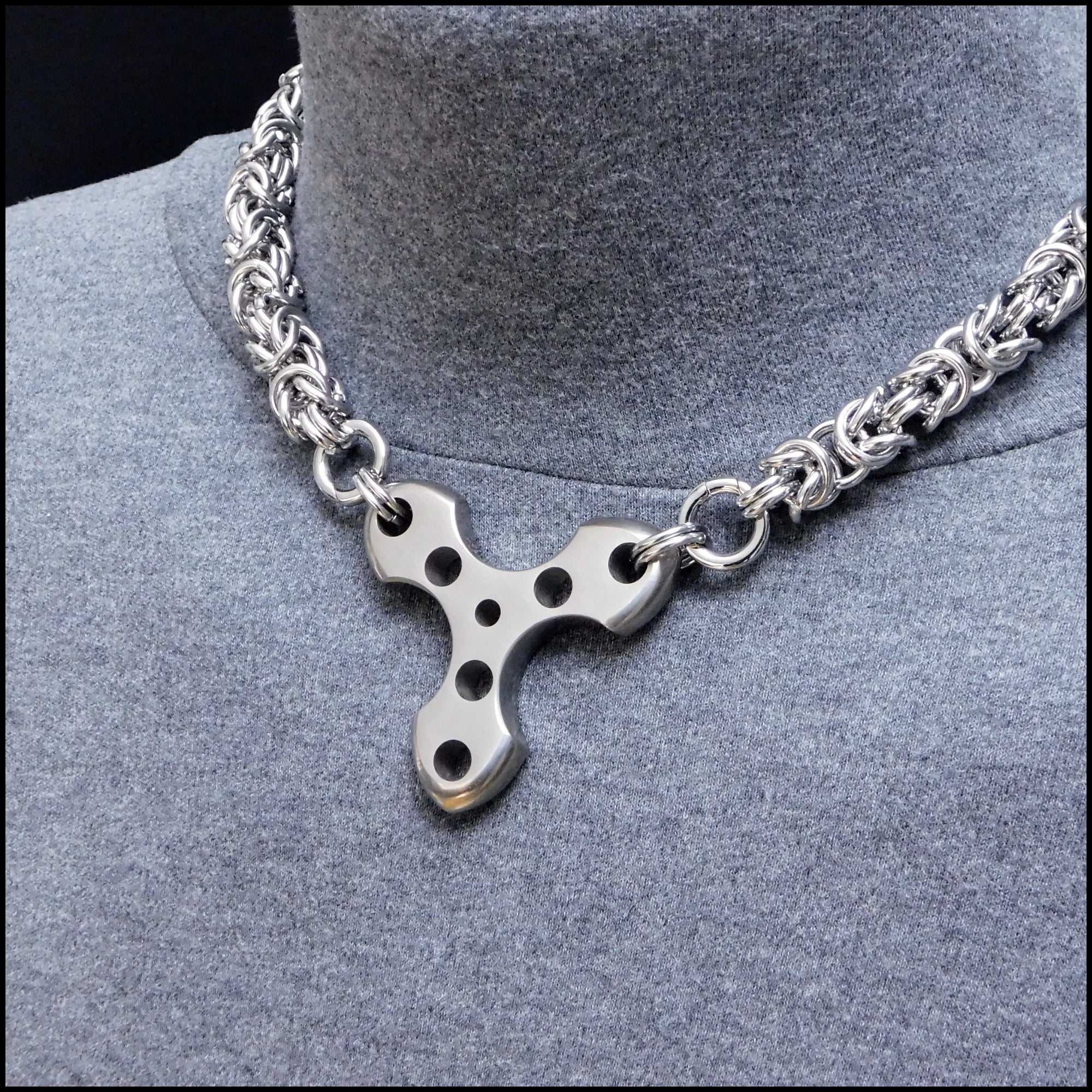 Techno Warrior Triangle Pendant on Heavy 11mm Chainmaille Necklace - Precision Made Stainless Steel