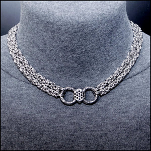 Bold Multipurpose Double Strand Chainmaille Necklace with Faceted Crystal Center Link