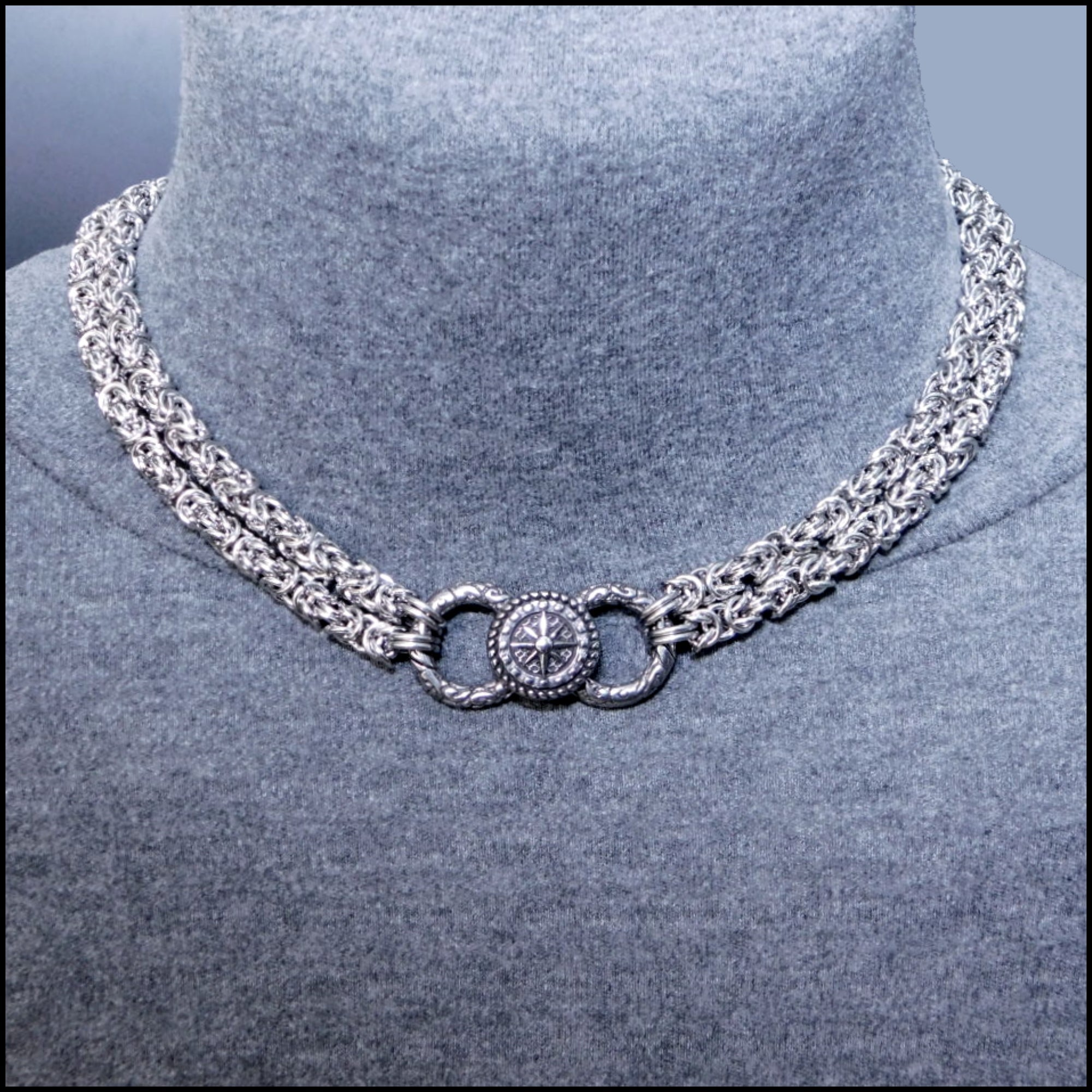 Bold Multipurpose Double Strand Chainmaille Necklace with Compass Design Center Link