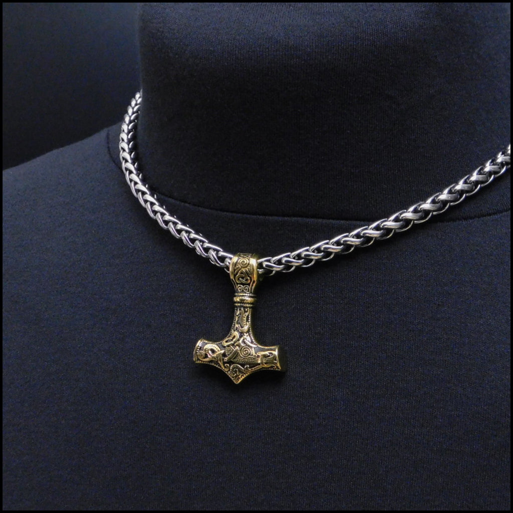 Beautifully Sculptured Antique Gold Thor's Hammer on Thick Antique Viking Braid Chain