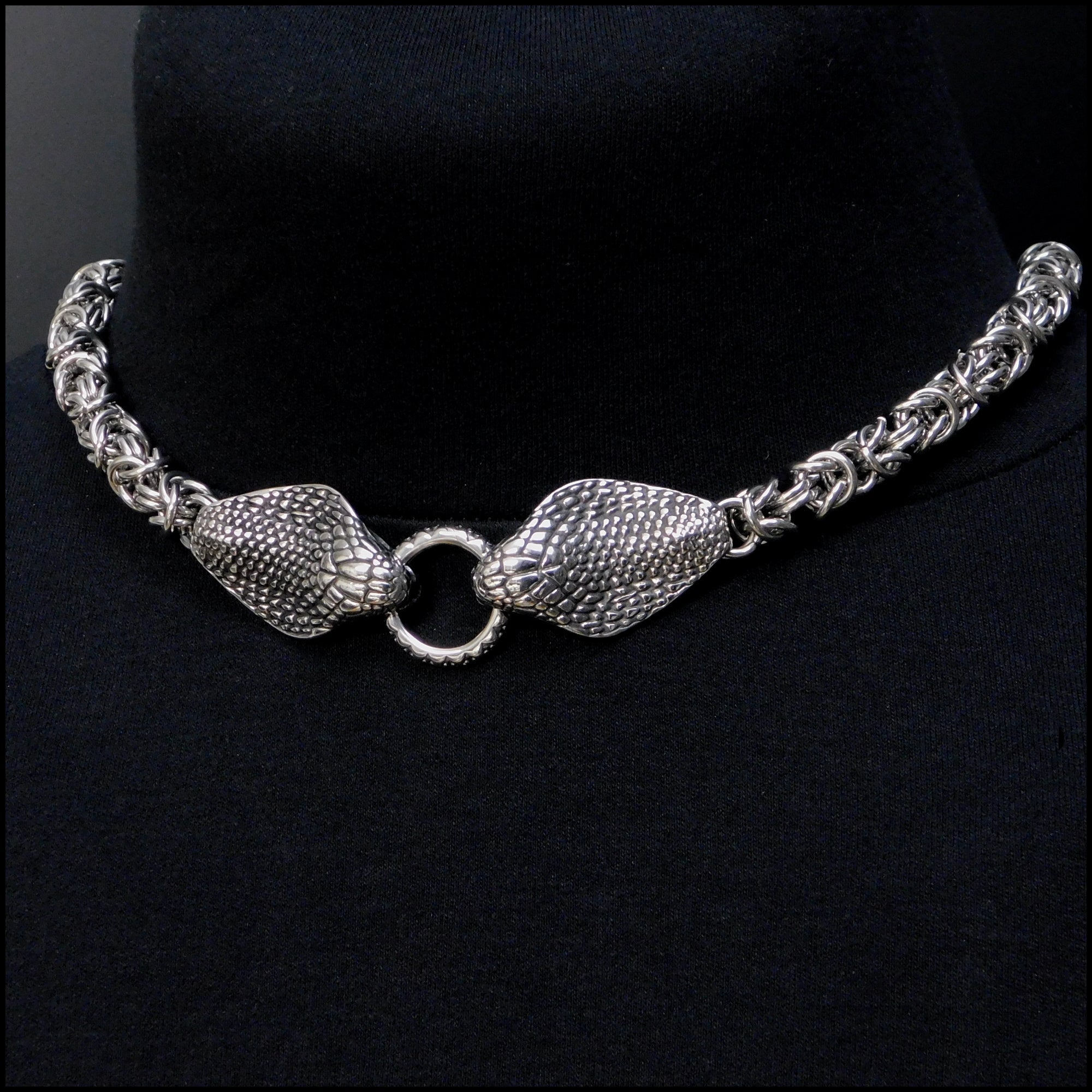 Guardian Cobras Necklace with Extra Thick Chainmaille Design Chain with Sculptured Cobra Head Ends