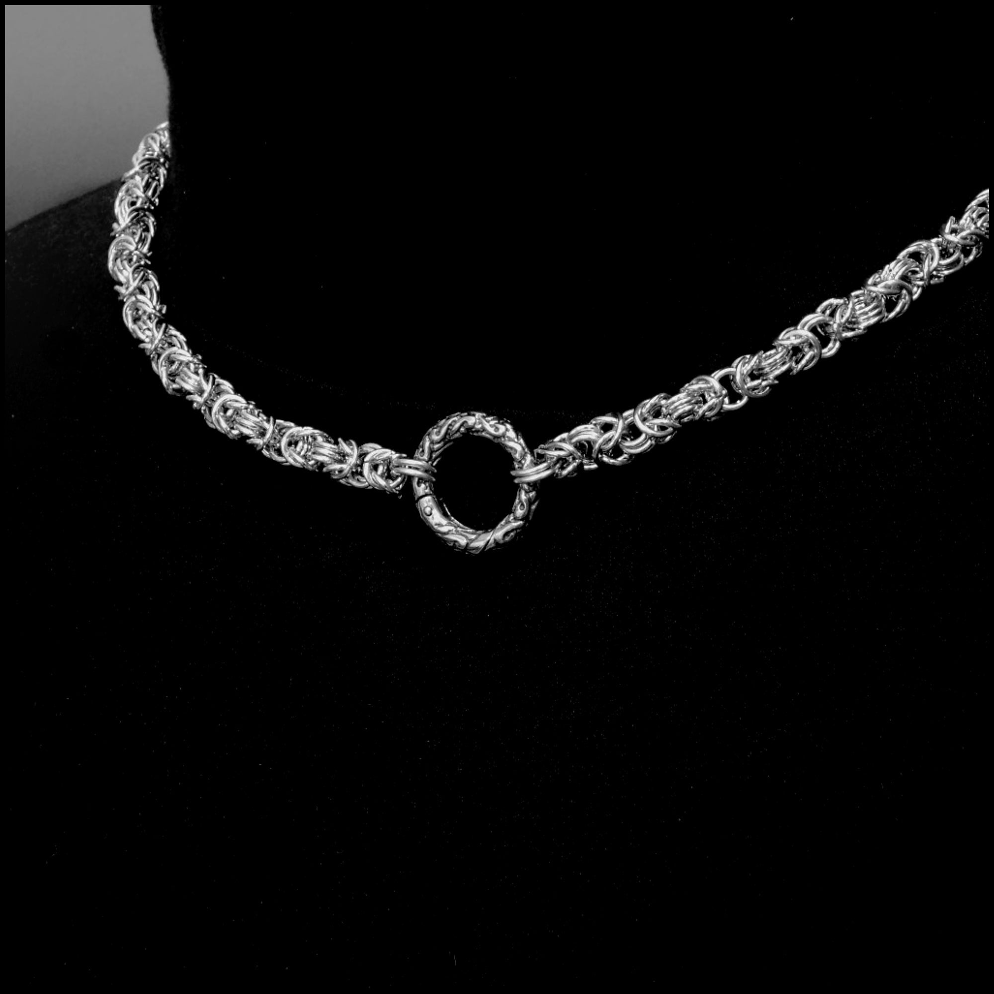Discreet Chainmaille Day Collar with Beautifully Sculptured Ancient Design Connector Ring
