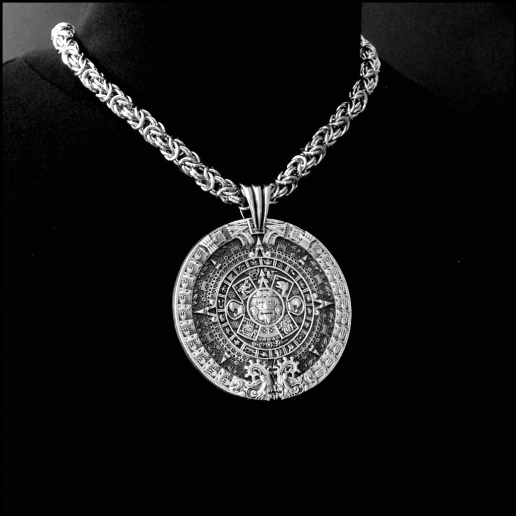 Aztec Calendar Stone Medallion Antique Finish Medallion On 9mm Chainmaille Stainless Steel Necklace