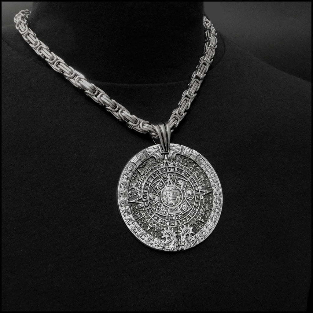Aztec Calendar Stone Medallion On 8mm Byzantine Stainless Steel Necklace