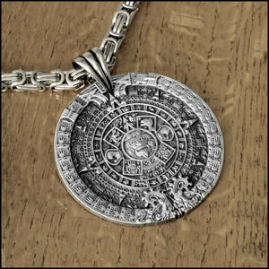 "Large 3"" 76mm Aztec Calendar Stone Pectoral Medallion Antique Silver Finish Medallion On 8mm Byzantine Stainless Steel Chain Necklace"