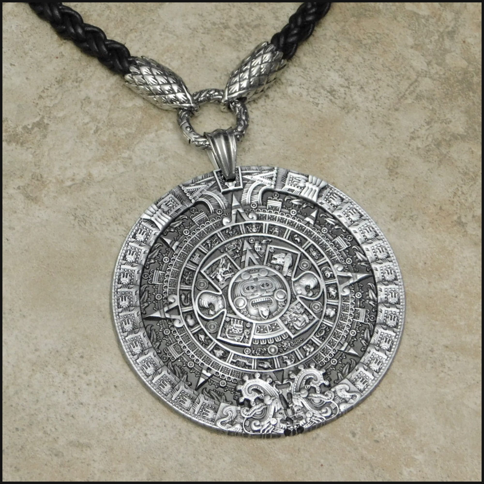 Large Aztec Calendar Medallion on Tribal Braid Leather Necklace With Serpent Scale Ends