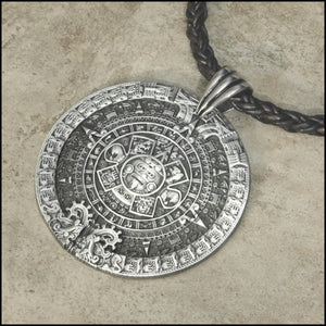 Huge Aztec Calendar Medallion on Tribal Braid Leather Necklace