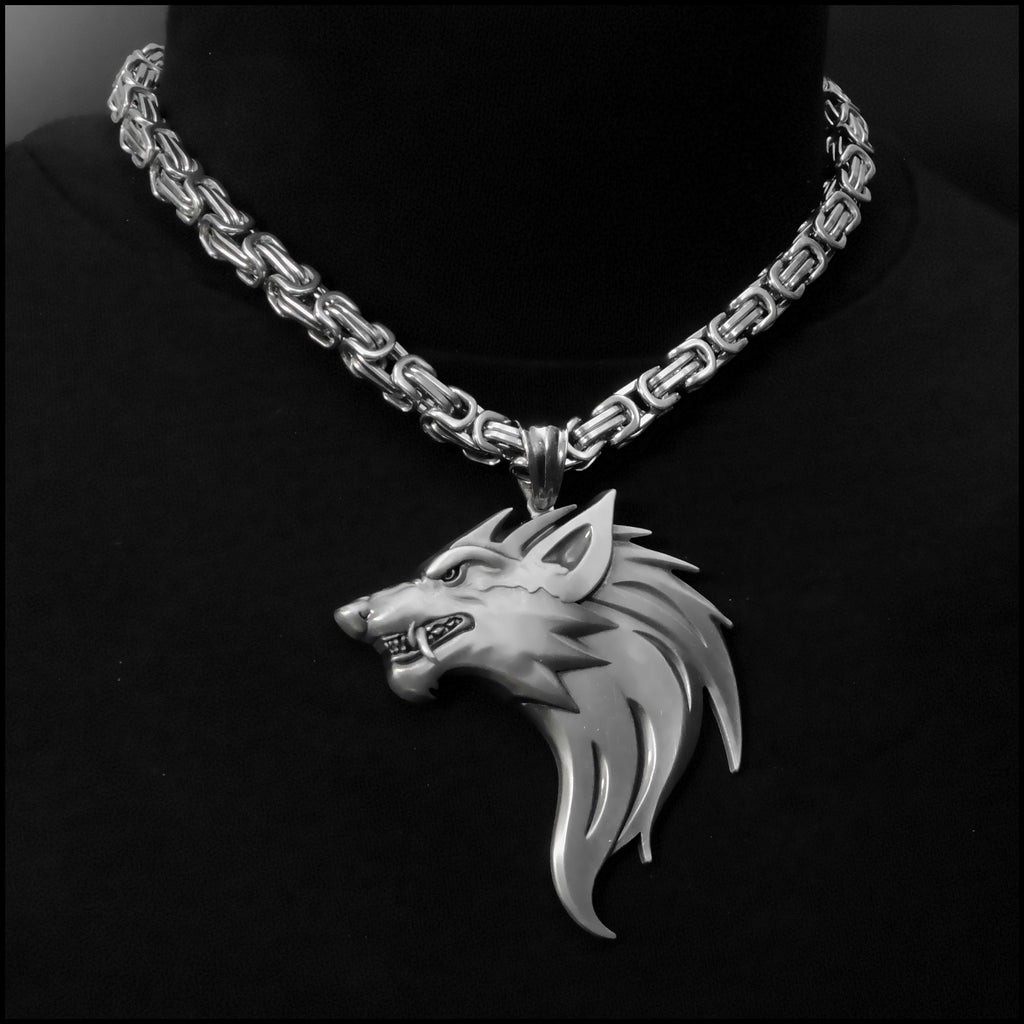 Monster Fenrir Werewolf Wolf Medallion on Byzantine Stainless Steel Necklace