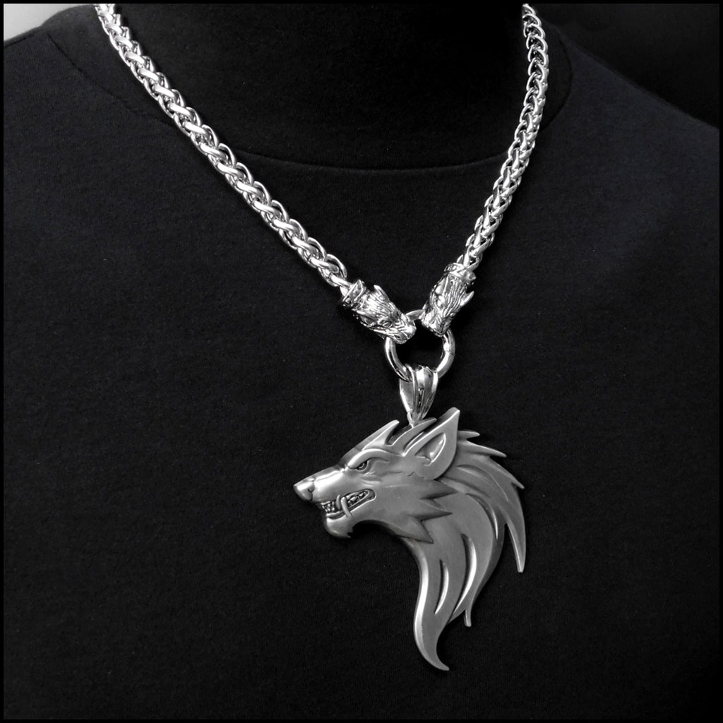 Monster Fenrir Werewolf Wolf Medallion on Hellhound Head Viking Braid Chain