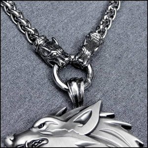 Ferocious Snarling Monster Fenrir Werewolf Wolf Medallion on Hellhound Head Ends Thick Viking Braid Chain